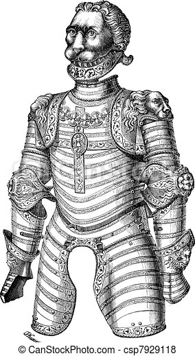 Armor of lion also known as Louis XII vintage engraving - csp7929118