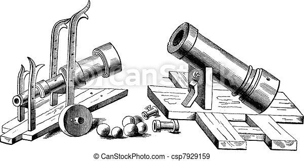 Bombard (weapon) vintage engraving - csp7929159