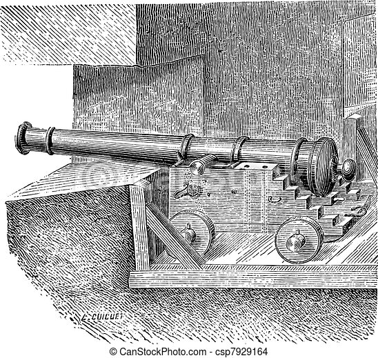Artillery Battery on the dimension of ship vintage engraving - csp7929164