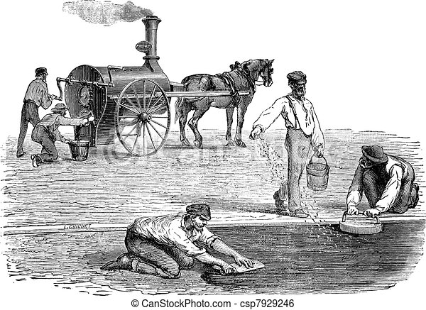 Road workers making pavement with the help of steam engine vintage engraving - csp7929246
