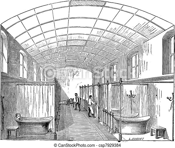 The hall for single bath in Hopital Saint-Louis in Paris France vintage engraving - csp7929384