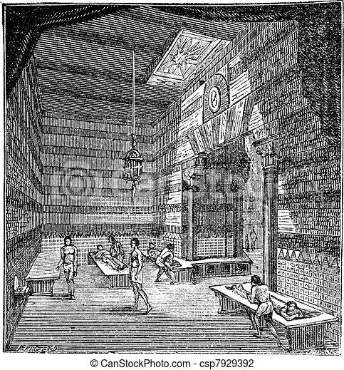 The roman period massage room vintage engraving - csp7929392