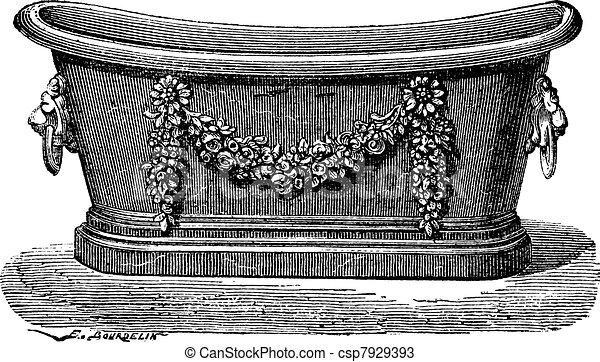 vecteurs de gravure vendange baignoire zinc old grav csp7929393 recherchez des. Black Bedroom Furniture Sets. Home Design Ideas