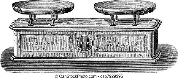 Balance pendulum scale vintage engraving - csp7929395