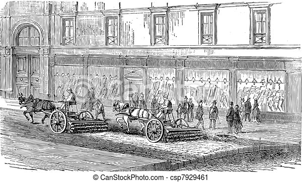 People sweeping the street with carts vintage engraving - csp7929461