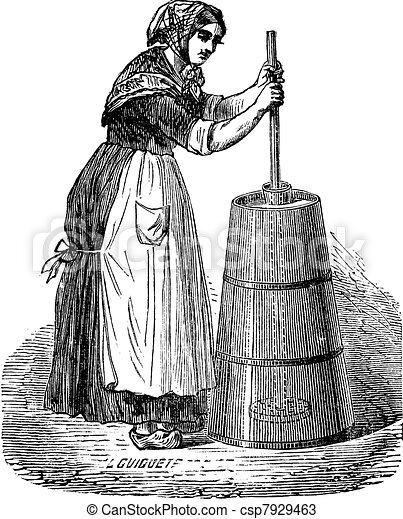 Woman churning butter with ordinary plunger vintage engraving - csp7929463
