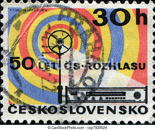 CZECHOSLOVAKIA - CIRCA 1973: A stamp printed in Czechoslovakia shows Radio Aerial and Receiver 50th anniversary of Czech broadcasting , circa 1973 - csp7929524