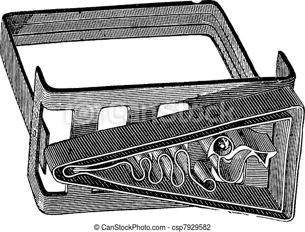Old engraved illustration of an apparatus for making battik canvas painting. Industrial encyclopedia E.-O. Lami - 1875. - csp7929582