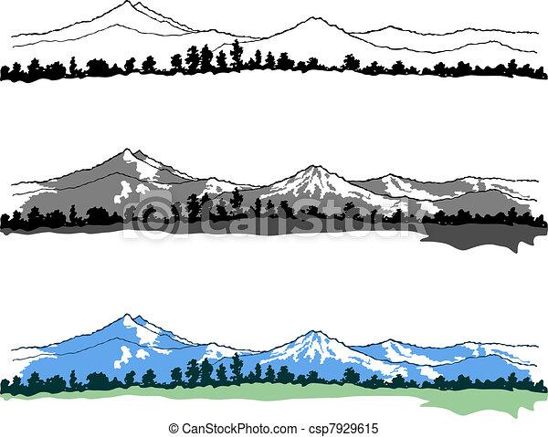 clipart vektor von berge landschaften auf weißes