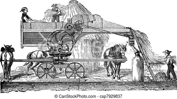 Threshing machine or thrashing machine vintage engraving - csp7929837