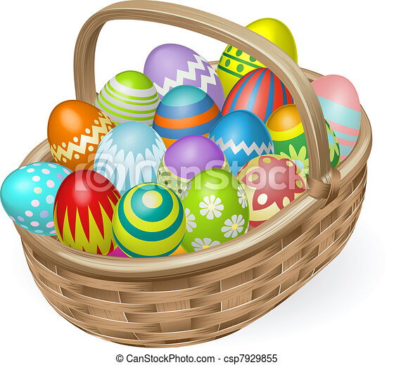 Illustration of painted Easter eggs - csp7929855