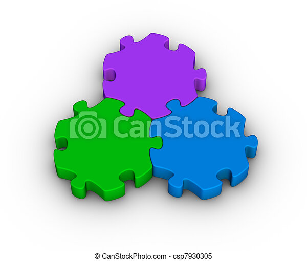 three jigsaw pieces - csp7930305