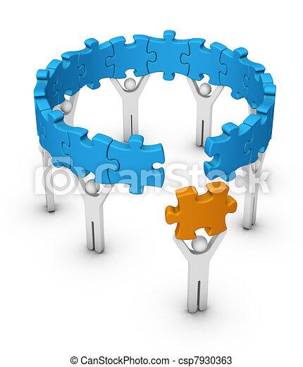 man with last jigsaw piece - csp7930363