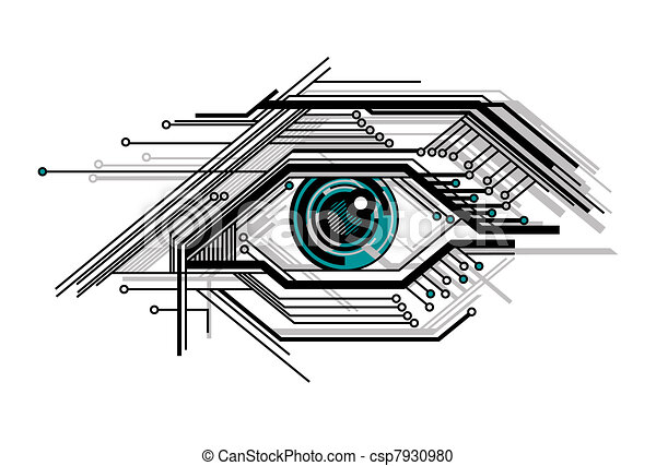 conceptual tech stylized eye - csp7930980