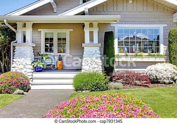 Stock Images Of White Small Old House Front Porch Of The