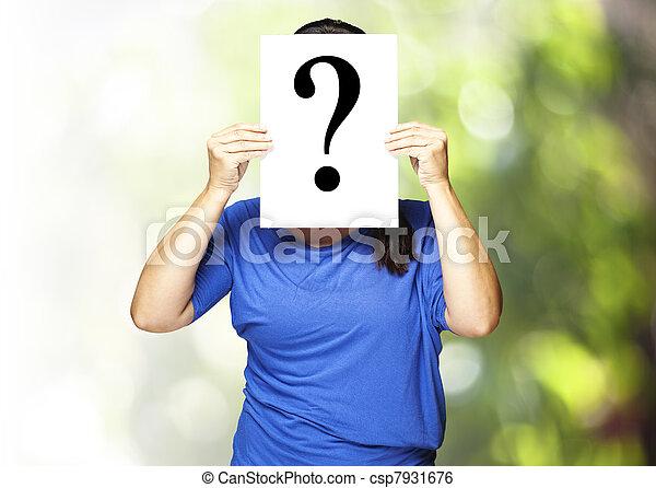 woman with interrogation symbol - csp7931676