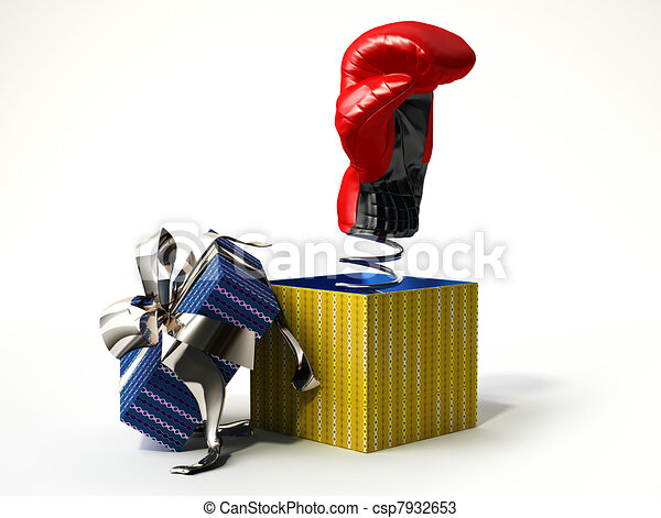 Boxing glove coming out from a gift box - csp7932653