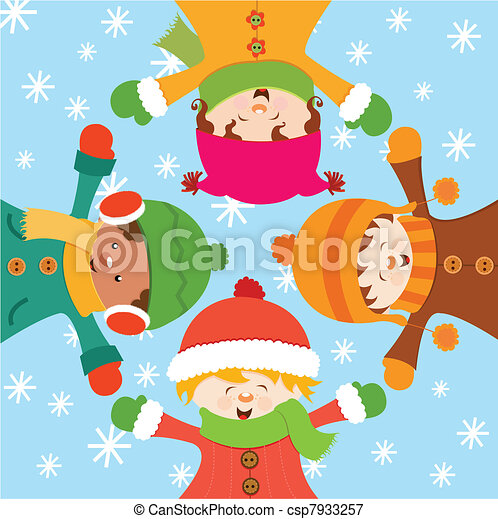 kids Celebrating Snow - csp7933257