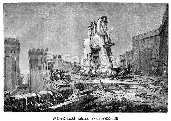 Salon of 1874, Painting. - The Trojan Horse, by Motte, vintage engraved illustration. Magasin Pittoresque 1875. - csp7933836