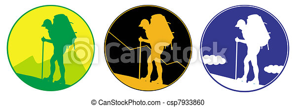 Emblem with sillhouette  of Man with a backpack going up the hill. mountains in the background. Vector. Separate layers - csp7933860