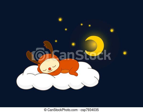 clipart vector of reindeer sleeping on a cloud cute kid in reindeer costume csp7934035. Black Bedroom Furniture Sets. Home Design Ideas