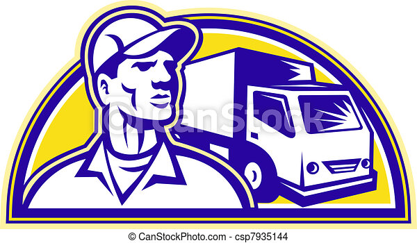 Removal Man Delivery Guy with Moving Van - csp7935144