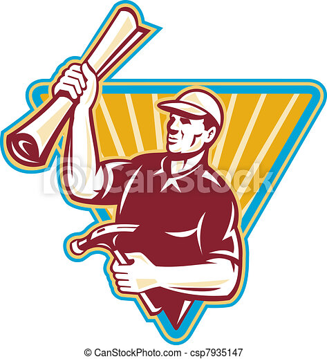 Carpenter Holding a Building Plan and Hammer Retro Style - csp7935147