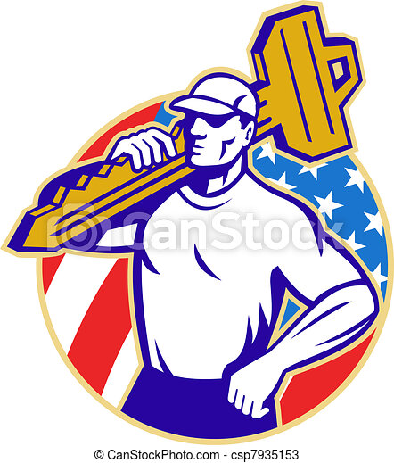 Locksmith Holding Key With American Flag - csp7935153