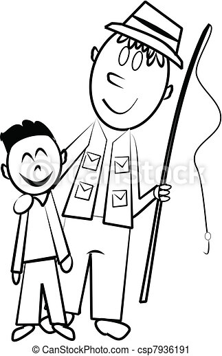 father and son fishing sketch - csp7936191