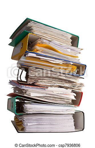 The pile of file binder with papers - csp7936806