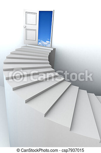 3D stairs up to clean sky - csp7937015