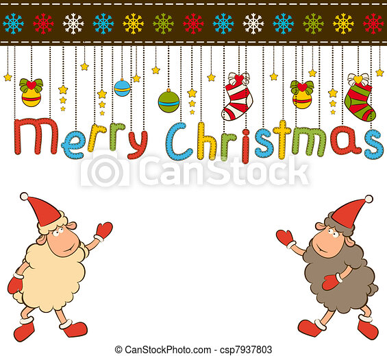 Cartoon funny Santa Claus sheep. - csp7937803