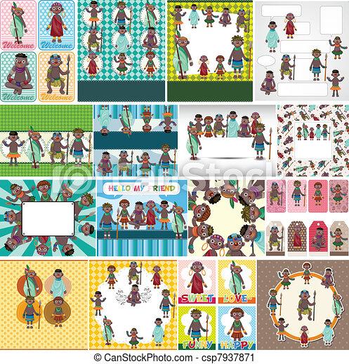 cartoon Africa Indigenous card - csp7937871