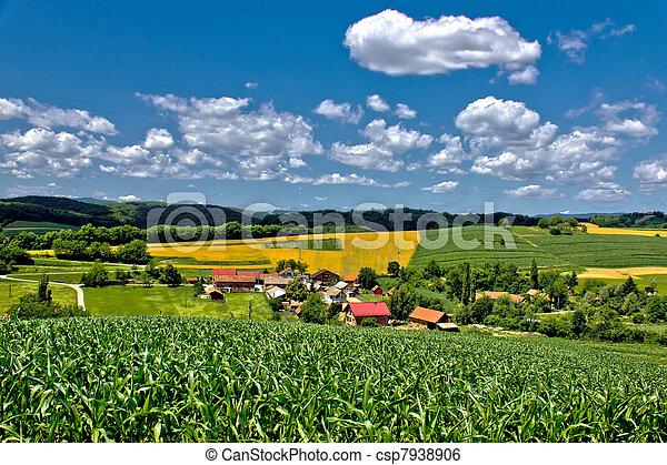 Beautiful green village scenery landscape in spring time III - csp7938906