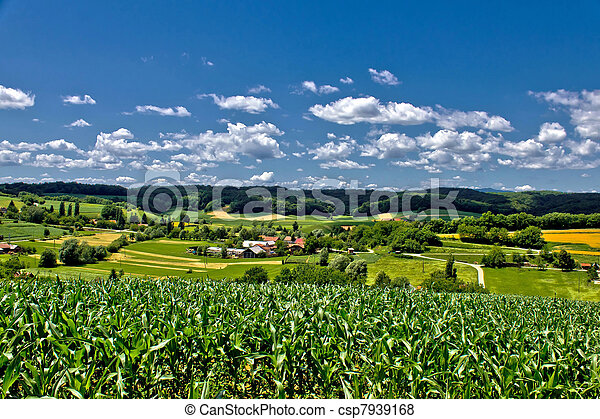 Beautiful green scenery landscape in spring time II - csp7939168