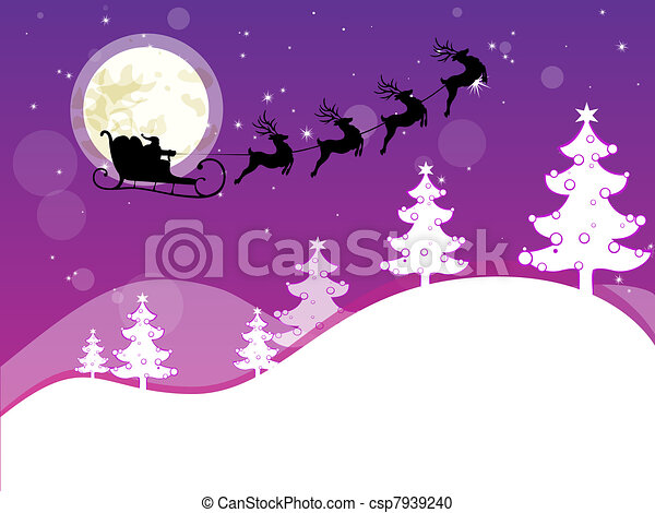 Vector Illustration of winter scene - christmas card - vector ...