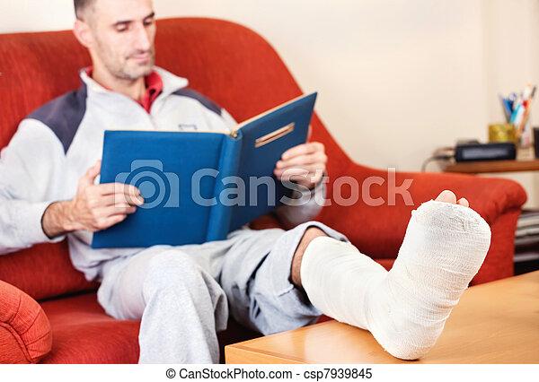 man with broken leg - csp7939845