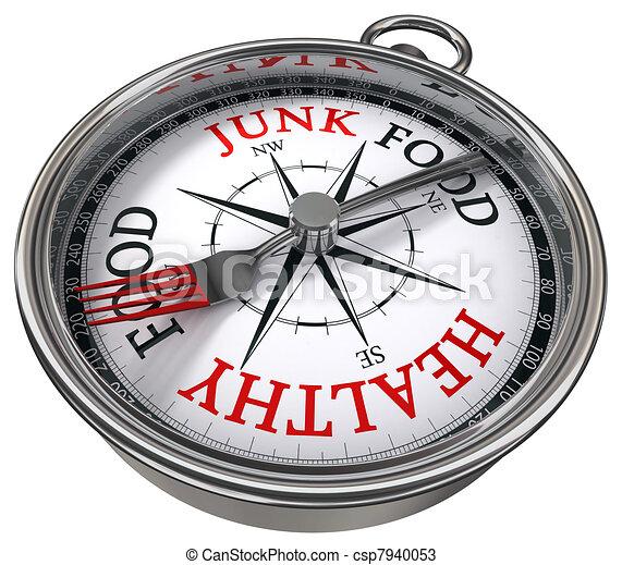 healthy versus junk food concept compass - csp7940053