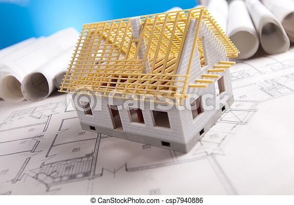 plan, redskapen, arkitektur,  & - csp7940886