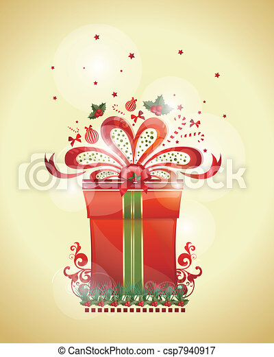 Christmas decoration gift card Area - csp7940917
