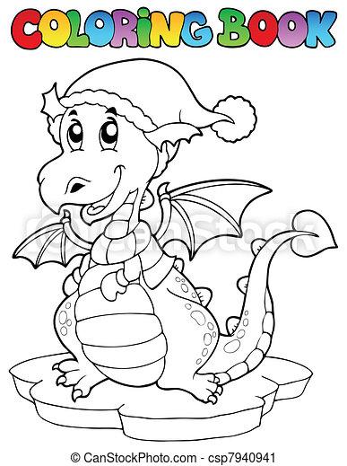 Coloring book cute winter dragon - csp7940941