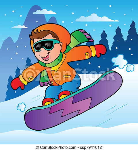 Vector Illustration of Winter scene with boy on snowboard ...