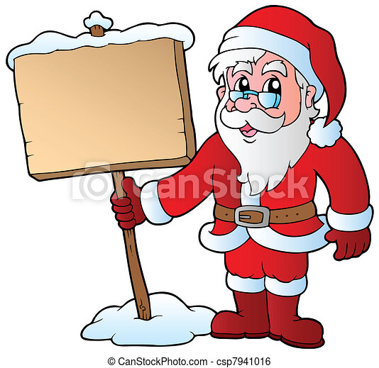 Santa Claus holding wooden board - csp7941016