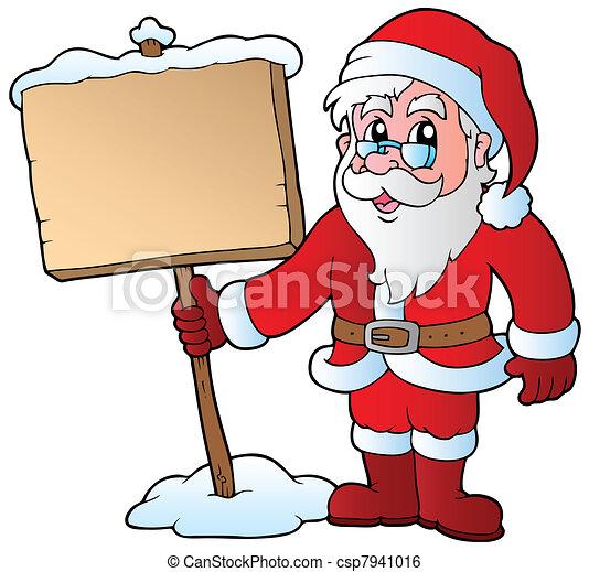 Santa Claus holding wooden board - csp7941016