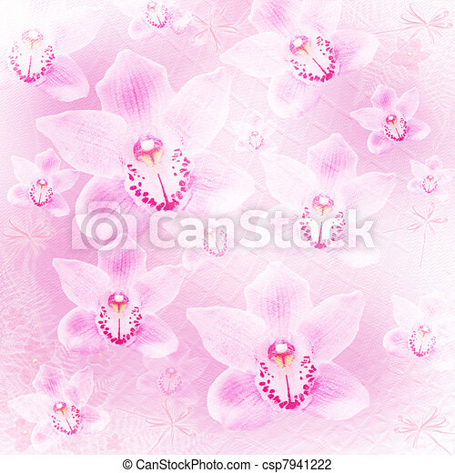 Card for invitation or congratulation with orchids and bow  - csp7941222