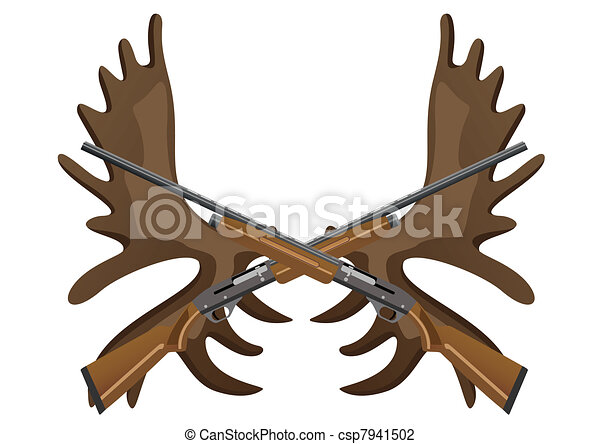 Hunting rifles and antlers of elk - csp7941502