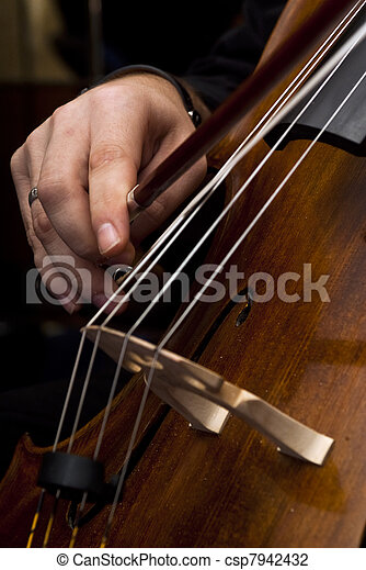 Male hands playing cello - csp7942432