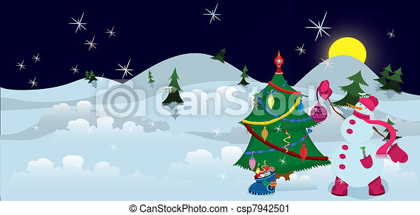 Snowman is decorating Christmas tree banner - csp7942501