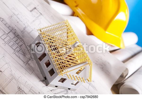 Hem, arkitektur,  plan - csp7942680