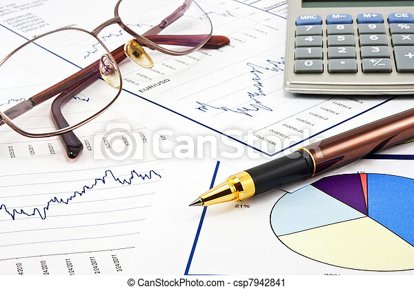 Business background, financial data concept with pen and glasses - csp7942841